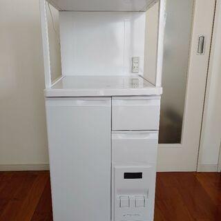 [売]レンジ台 (米びつ付12kg) キッチン収納 48x48x116