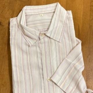Yシャツ 半袖 ピンク系ストライプ 中古 No.4