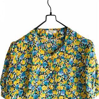 古着 レトロ 花 柄シャツ 総柄 オーバーサイズブラウス 日本製