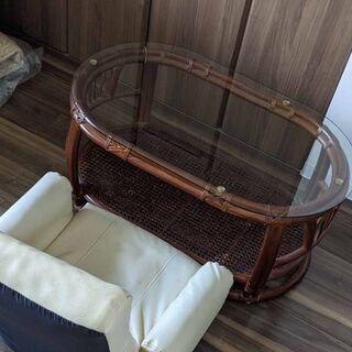 藤籠 藤 ラタン ローテーブル ガラステーブル 回転座椅子セット