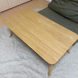 天然木風折り畳みテーブル(ライトブラウン)