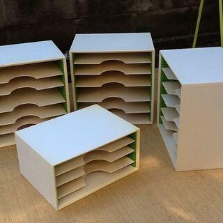 ①34.5×25.5×H34.5㎝ カルテ棚 書類棚 机上 棚板...