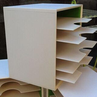 ③カルテ棚 書類棚 34.5×25.5×H34.5㎝ 机上 棚板...