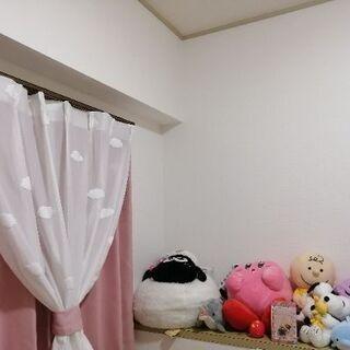 雲のレースカーテン、ピンクのカーテンセット