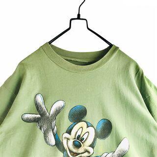 USA製 古着 褪せ感 くすみ緑 ディズニー 両面プリント Tシャツ