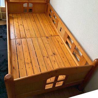 【ネット決済】2段ベッド ナチュラル 木製 ベッド シングルサイ...