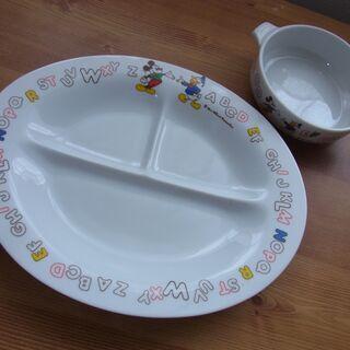 【お話し中】【おまとめで0円】ミッキー キッズ食器2点 陶器