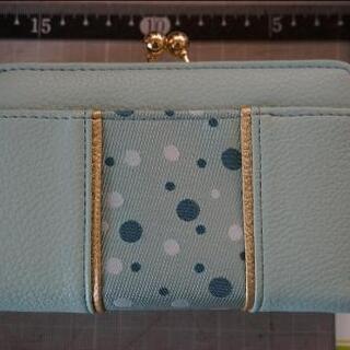 博多織り二つ折り財布☆水玉水色