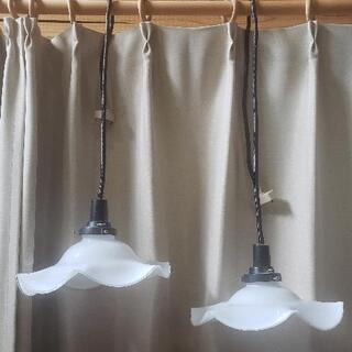北欧風ペンダントライト傘陶器(硝子)製白い花の形