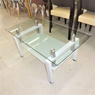 USED ホワイトガラステーブル