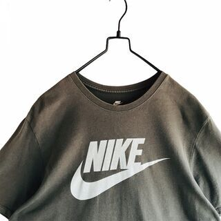 古着 NIKE ナイキ Tシャツ デカロゴ 褪せ黒 墨黒 XL