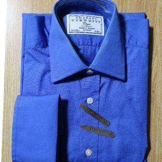 ☆割引あり【美品】英国高級ドレスシャツ③ ポプリン綿100% ブルー