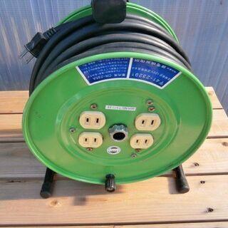 電動工具などの作業に! 電工ドラム〈緑〉(中古・良品)