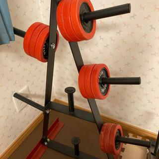 筋トレ器具 プレート12枚付き ラック バーベルダンベル収納