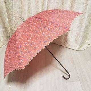 長傘(赤の花柄傘)晴雨兼用 日傘 雨傘