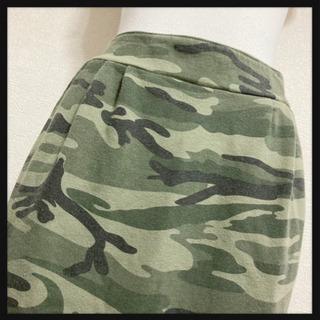 カモフラージュ スカート 迷彩柄 緑 膝丈 ミリタリー カジュア...
