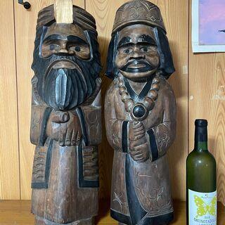 差し上げます! アイヌ・ニポポ 木彫り彫刻 夫婦像 民芸品