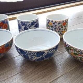 交渉中【無料】九谷焼のお茶碗&湯飲みセット、深鉢