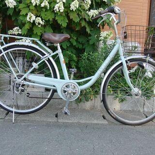 中古自転車 ママチャリ  26インチ 6段変速 LEDオー…