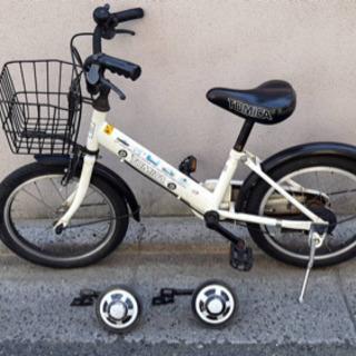 トミカ 自転車 子供用 16型 補助輪付き ホワイト