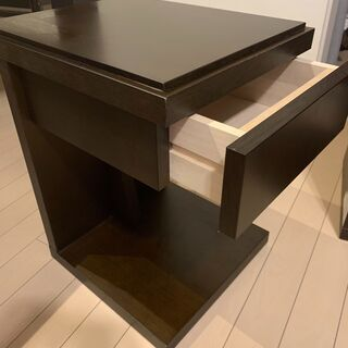 フランスベッド社 ナイトテーブル2台 (ベッドサイドテーブル・引...