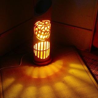 【ネット決済・配送可】竹ランプ 〜〜鞠 格子〜〜 竹灯籠 竹灯り 癒し