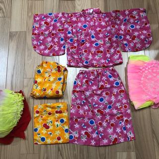【ネット決済】浴衣姉妹お揃い90ピンク95オレンジ、さくらんぼ