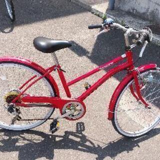 すぐ乗れる24インチお洒落ギヤ付き自転車