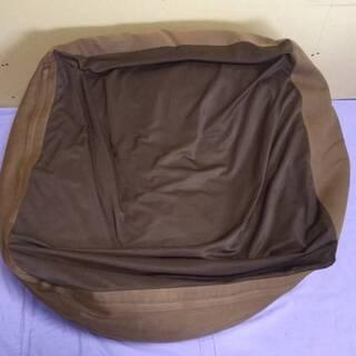 特大のキューブ型ビーズクッション カバー2枚付き(ブラウンと薄ピンク)