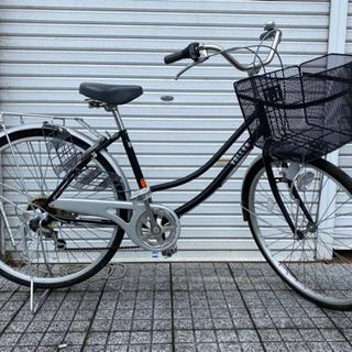 【ネット決済・配送可】【中古自転車】26インチ6段変速付 ブラッ...