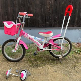 16インチ 女の子 自転車 補助輪 アシストバー付き