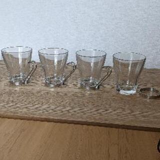 ガラス製コーヒーカップ 4脚