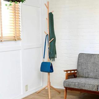 山善] ポールハンガー (木製) 衣類収納 幅45×奥行40×高...