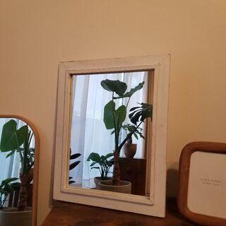 【急募】木枠ミラー(ホワイト・48×38cm)