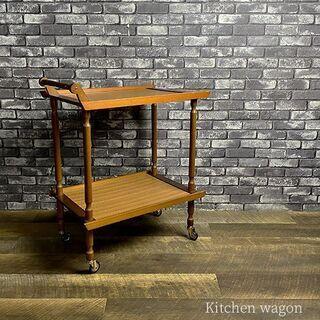 木製 キッチン ワゴン 2段 キャスター 付き 高さ 約75cm...