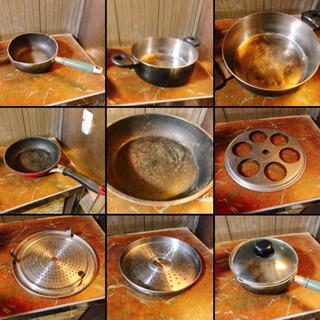 【無料】鍋・フライパン・蒸し器あげます