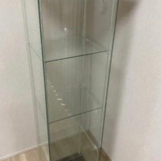 ガラス扉キャビネット IKEA ガラスショーケース(ブラウン)