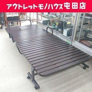 折りたたみベッド 寝床幅91cm すのこベッド 木製 ブラウン ...