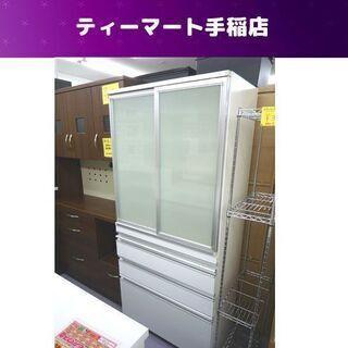 訳あり特価 食器棚 幅80cm ハイタイプ 鏡面 白 スラ…