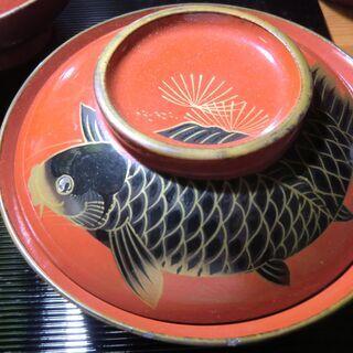 蓋つき碗 鯉の蒔絵 ②/3