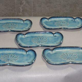使用少なめか未使用 青い皿  約20㎝×10㎝  5枚