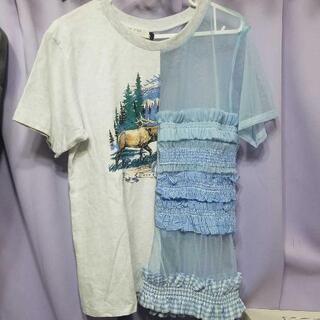 【新品未使用】異素材組み合わせ Tシャツ