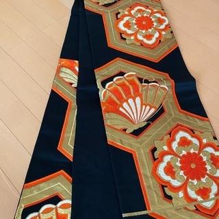 6MNA920 高級袋帯 六通 ブラック ゴールド キラキラ