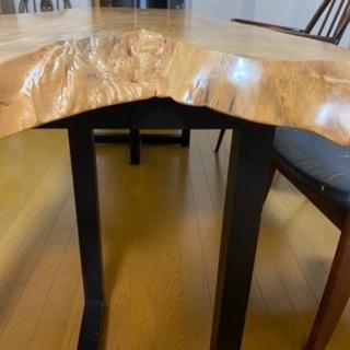 【ネット決済】一枚板ダイニングテーブル、脚付き
