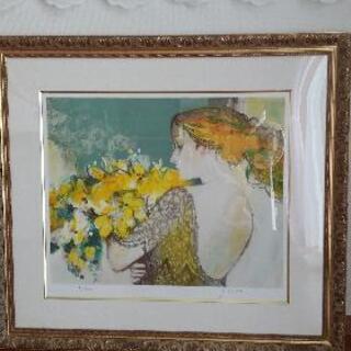 今井幸子 オリジナルリトグラフ 黄色い花束