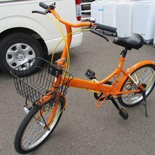自転車 折りたたみ 20インチ シティサイクル オレンジ系 6段...