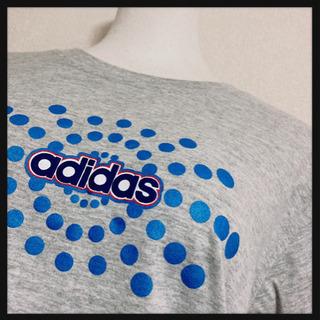 ꒰adidas꒱Tシャツ 灰色 青 プリントロゴ スポーツ…