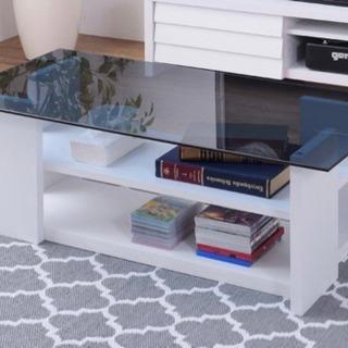 【ネット決済】ローテーブル ガラスと木製の収納付テーブル