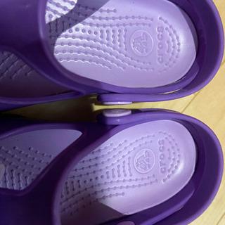 クロックス kids 18㎝ サンダル 靴 パープル リボン