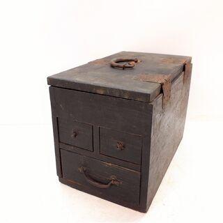時代物 古道具 硯箱 アンティーク 書道具 / NJ-0048 E2